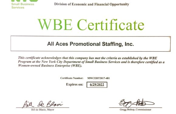 All Aces Promotional Staffing is now a certified WBE!