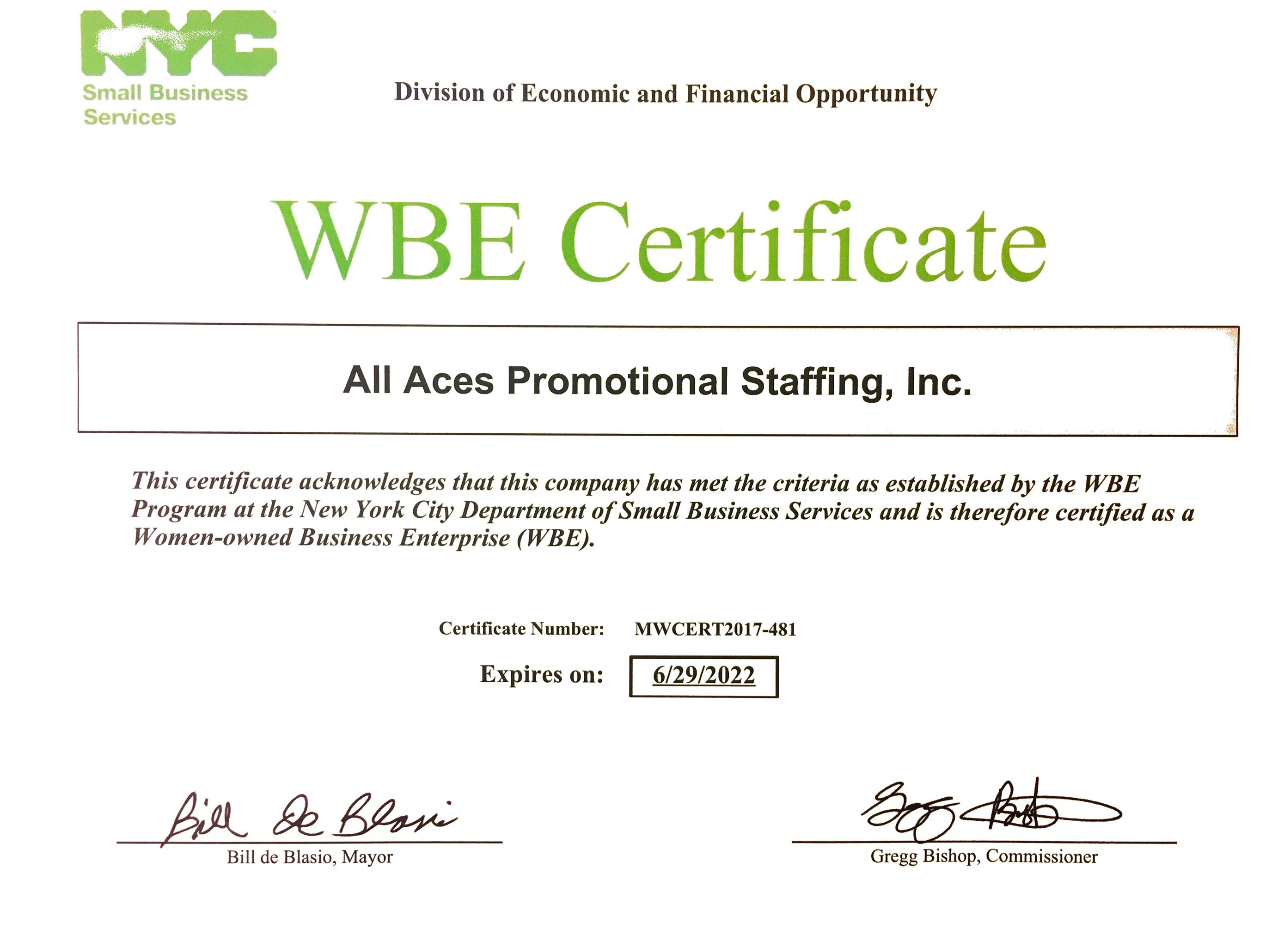 All Aces Promotional Staffing Is Now A Certified Wbe All Aces